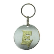 The Pet Jeweller - Alphabet Dog ID Tag - Textured brass on plain silver