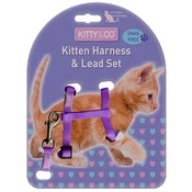 Hem & Boo - Snag-Free Kitten Harness & Lead Set - Purple