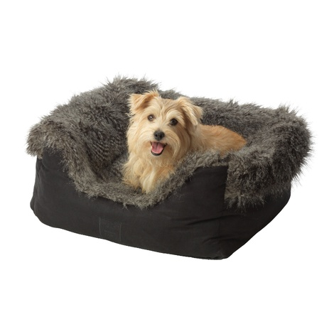 Arctic Tipped Faux Fur & Suede Square Snuggle Dog Bed
