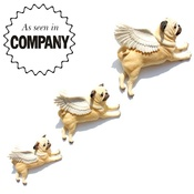 Pugs Might Fly - Set of 3 Flying Pugs - Fawn