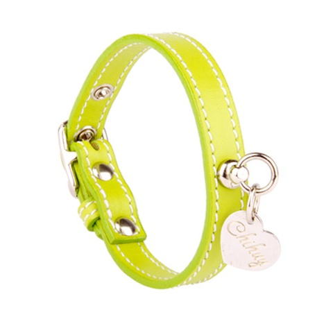 Green and Silver Stitch  Leather Collar
