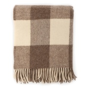 Mutts & Hounds - Beige Giant Check Wool Blanket