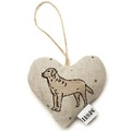 Dogs Linen Lavender Heart Natural - Labrador