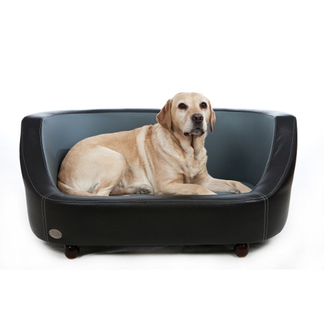 Oxford I Leather Pet Bed - Moonlight Black