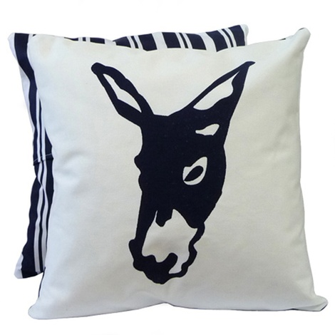 Donkey Butcher Stripe Blue Cushion