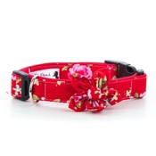 Pet Pooch Boutique - Red Vintage Collar with Flower Accessory