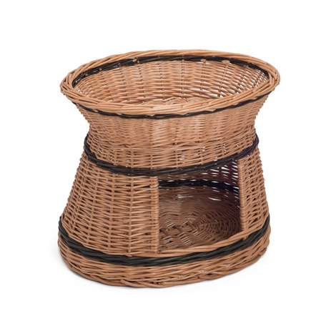 Wicker Two Tier Oval Cat Basket
