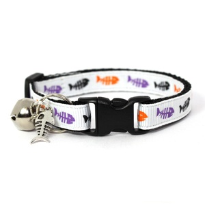 White Fishbones Safety Cat Collar