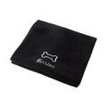Personalised Black Bone Dog Blanket - Italic Font