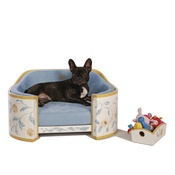 Katalin zu Windischgraetz - White, Sunglow & Blue French Provincial Dog Sofa