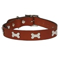 Bones Studs Leather Collar - Tan  2