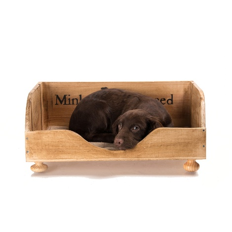 Vintage Wine Crate Dog Bed & Blanket 3
