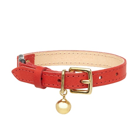 Leather Red Cat Collar