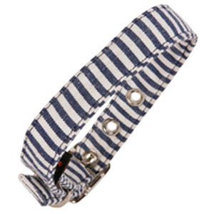 Stripe Fabric Dog Collar Blue