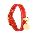 Red and Gold Stitch Leather Collar