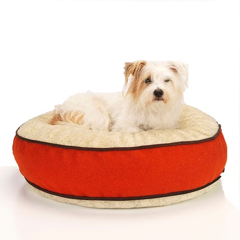 Edison Orange Harris Tweed Dog Bed