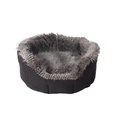 Arctic Tipped Faux Fur & Suede Oval Snuggle Dog Bed