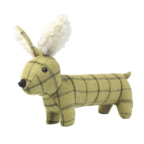 Green Tweed Long Hare Dog Toy