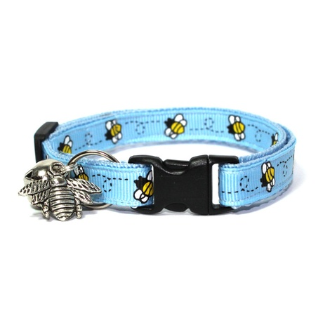 Blue Bumblebees Safety Cat Collar