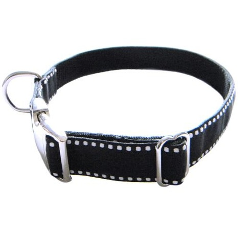 Dog Collar - White Saddle Stitch on Black 2