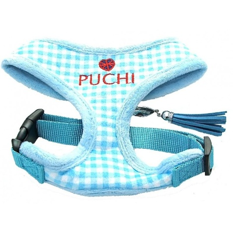 Blue Chequered Pet Harness & Lead