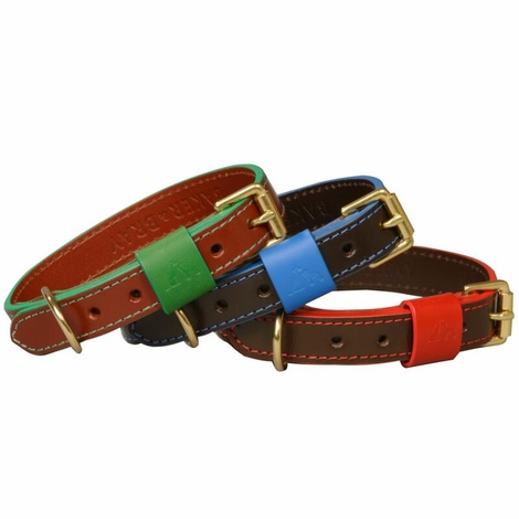 Pimlico Leather Dog Collar – Tan & Green 3
