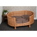 Luxury Wicker Oval Pet Bed Settee with Dark Cushion 4