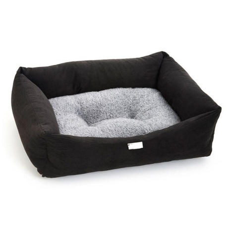 Black Suede Sherpa Dog Bed