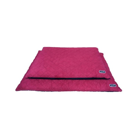 Quilted Flat Dog Bed - Black & Raspberry