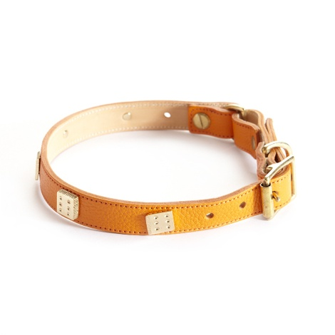 Woof Leather Dog Collar - Orange 2