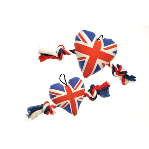 Union Jack Heart with Rope Dog Toy