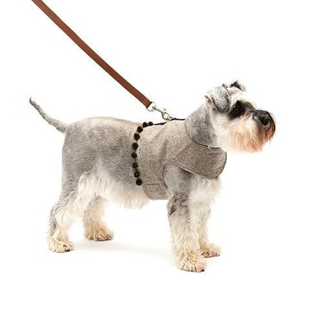 Grey Tweed Dog Harness with Pom Poms 3