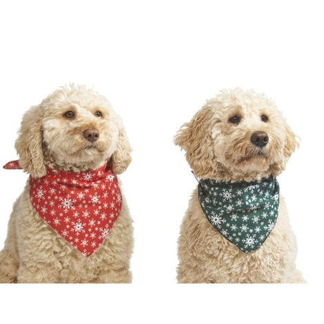Mini Snowflake Dog Bandana – Green 2