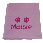 My Posh Paws - Personalised Fleece Puppy Blanket - Pale Pink