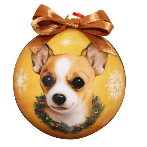 Tan Chihuahua Christmas Bauble