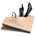 Leather Diamond Poo Bag Pouch - Tan 2