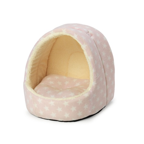 Fleece Star Hooded Kitten Bed - Pink