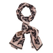 Lisa Bliss - Long Fox Print Silk Scarf in Pink