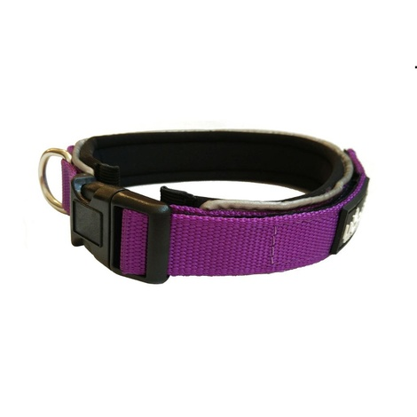 Liopard Padded Nylon Dog Collar – Purple