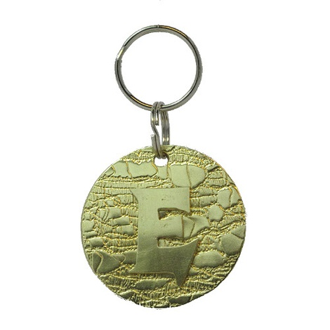 Alphabet Dog ID Tag - Plain brass on textured brass