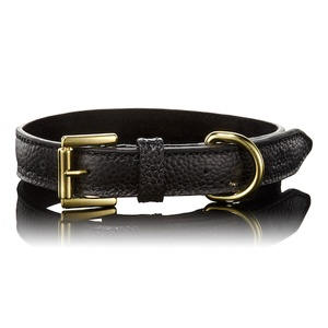 Pebbled Black Leather Dog Collar
