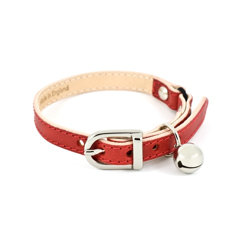 Red Leather Cat Collar