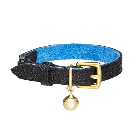 The 'Beluga' Cat Collar - Caviar Grain Leather