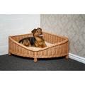 Luxury Wicker Dog Corner Basket with Dark Cushion 2