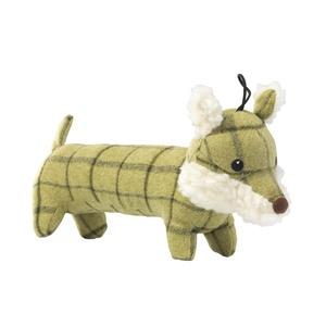 Green Tweed Long Fox Dog Toy