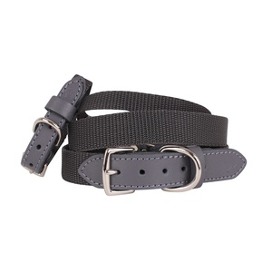 """The Marylebone"" Grey Webbing & Leather Collar"