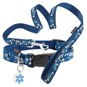 Bobby - Blue Flower Collar & Lead Set