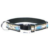 CanineAllStars - Blue VW Camper Van Dog Collar – Tan & White Stripes
