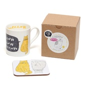 New House Textiles - Meow Mug and Coaster Gift Set