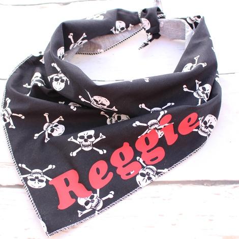 Personalised Black Skulls Dog Bandana